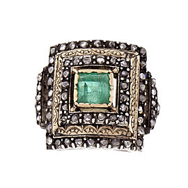 Vintage 14K Rose Gold with 0.70ct Natural Emerald & Diamond Ring Size 7.75