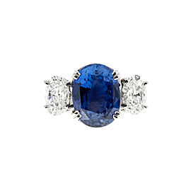 Vintage Platinum with 5.86ct Violet Blue Sapphire and Diamond Ring Size 6.5