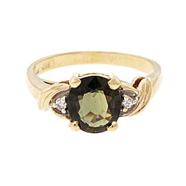 14k Yellow Gold Oval Green Sapphire Diamond Ring Size 6.75