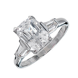 Vintage Platinum with 3.18ct White Sapphire and Diamond Ring Size 6.5