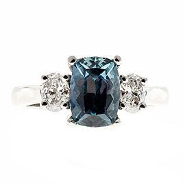Vintage Platinum with 2.23ct Gray Blue Sapphire & Diamond Engagement Ring Size 6.5