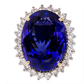 18K Yellow & White Gold with 20.51ct Oval Tanzanite & Diamond Ring Size 6.75