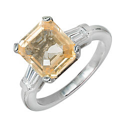 Platinum with 6.04ct Orange Yellow Natural Emerald Sapphire & Diamond Ring Size 8.75