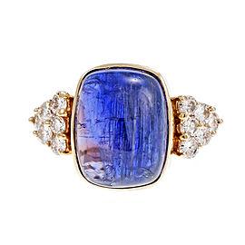 Vintage 14k Yellow Gold Purple Tanzanite Diamond Ring 1970s