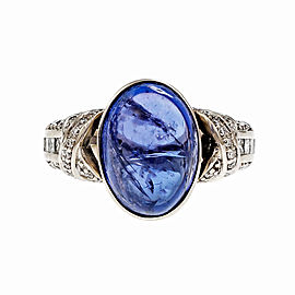 14K White Gold 9.88ct Cabochon Tanzanite Diamond Ring Size 7.5