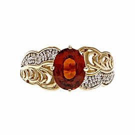 14K Yellow Gold with 1.60ct Spessartite Orange Garnet & 0.04ct Diamond Ring Size 8