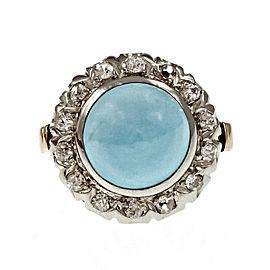 Vintage 14K Yellow / White Gold with Turquoise & Diamond Ring Size 7