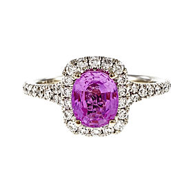 18K White Gold with 1.58ct Hot Pink Natural Sapphire & Diamond Halo Engagement Ring Size 6.5