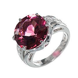 Platinum with Diamond and 8.14ct Pink Tourmaline Ring Size 6.5