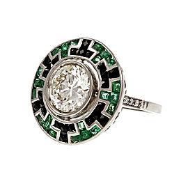 Platinum Transitional Cut Diamond and Emerald Onyx Engagement Ring Size 6.75