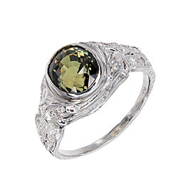 Platinum with Diamond and Alexandrite Ring Size 5.75