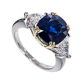 Vintage Platinum and 18K Yellow Gold with 4.14ct Royal Blue Sapphire & Diamond Engagement Ring Size 5.5