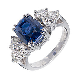 Platinum with Diamond and Sapphire Engagement Ring Size 7.25