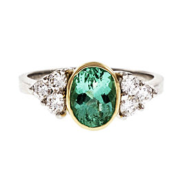 Platinum and 18K Yellow Gold 1.38ct Emerald and Diamond Ring Size 7