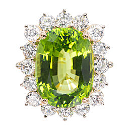 18K Yellow & White Gold Peridot Diamond Ring Size 6.5