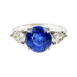 Platinum 6.53ct Sapphire & Diamond Engagement Ring Size 7
