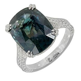 Platinum 9.74ct Cushion Natural Blue Green Sapphire & 0.80ct Pave Diamond Ring Size 6.25