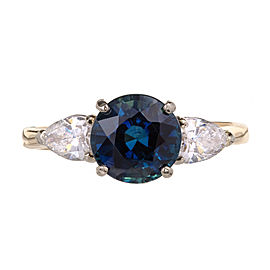 14k Yellow & White Gold 2.88ctw Sapphire and Diamond Engagement Ring Size 8.25