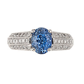 18k White Gold Oval Blue Sapphire and Diamond Ring Size 6.75