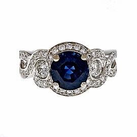 18K White Gold Diamond Blue Sapphire Swirl Halo Ring Size 6.5