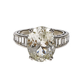 Platinum 9.60ct Oval Light Yellow Sapphire and Diamond Ring Size 7.25