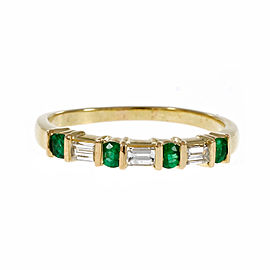 Estate 18k Yellow Gold .25ctw Emerald and .21ctw Diamond Wedding Band Ring Size 6.75