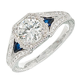 Platinum with Sapphire and Transitional Cut Diamond Engagement Ring Size 6.5