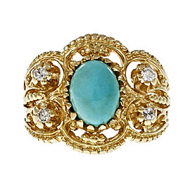 Vintage 14K Yellow Gold with Natural Persian Turquoise & Byzantine Diamond Ring Size 7