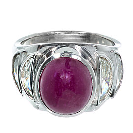 Platinum Cabochon Ruby Half Moon Diamond Baguettes Ring Size 6