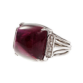 Platinum Large Sugar Loaf Cabochon Rubellite Ring Red Tourmaline Ring Size 6.5