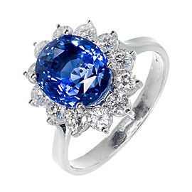 18K White Gold Blue Halo Sapphire Ring Size 6.75