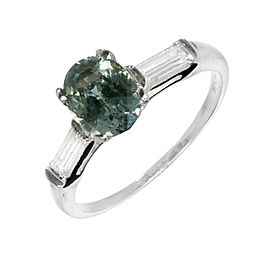 Platinum Natural Green Sapphire Diamond Engagement Ring Size 7.5