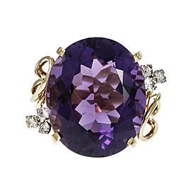 18K Yellow Gold with 20.00ct Amethyst & 0.24ct Diamond Ring Size 6.25