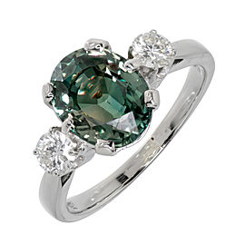 14K White Gold Diamond Blue Green Sapphire Ring Size 6.75