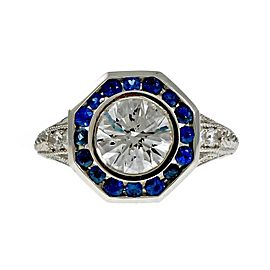 Platinum with Diamond and Sapphire Engagement Ring Size 6.5