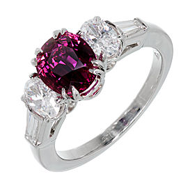 Platinum with Diamond and Ruby Engagement Ring Size 6.75