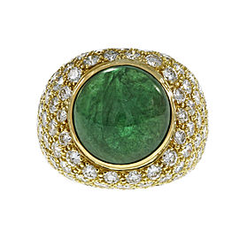 18K Yellow Gold with 9.11ct Green Emerald & 4.43ct Diamond Ring Size 6.5
