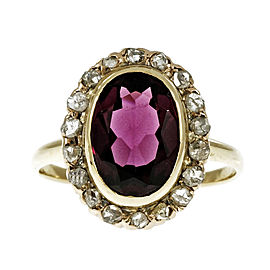 Vintage 14K Yellow Gold Rhodalite Garnet & Diamond Rose Cut Ring Size 7.25
