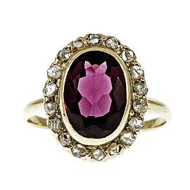 Vintage 14K Yellow Gold Rhodalite Garnet & Diamond Rose Cut Ring Size 7.25