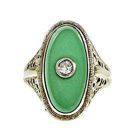 Vintage Art Deco 14K Yellow & White Gold with Filigree Green Onyx & Diamond Ring Size 6.25
