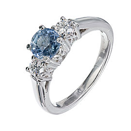 Platinum with Sapphire and Diamond Engagement Ring Size 7.25