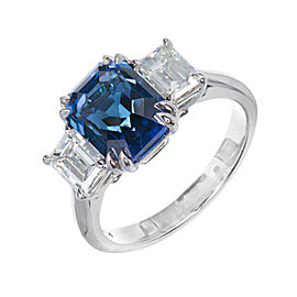 Platinum Blue Emerald Cut Sapphire & Diamond Engagement Ring Size 6.75