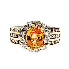 Estate Spessartite Garnet Oval Halo Diamond Ring 14k Yellow Gold