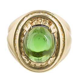 18K Yellow Gold 4.50ct Cabochon Tourmaline & 0.40ct Diamond Textured Ring Size 8.75