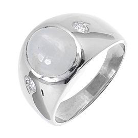 14K White Gold Star Sapphire Ring Size 10.5