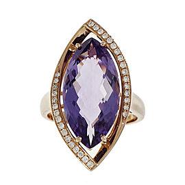 14K Rose Gold Amethyst & Diamond Ring Size 6.5