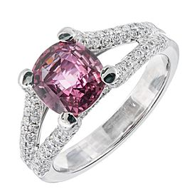 Platinum 1.92ct Natural Padparadscha Sapphire & 0.58ct Diamond Ring Size 6.75