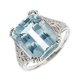 Platinum with Aqua and Diamond Art Deco Ring Size 5.25