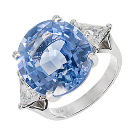 Platinum 15.45ct Blue Sapphire and 1.40tw Diamond Engagement Ring Size 6.75