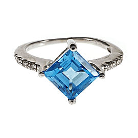 14K White Gold Blue Topaz Diamond Ring Size 5.25